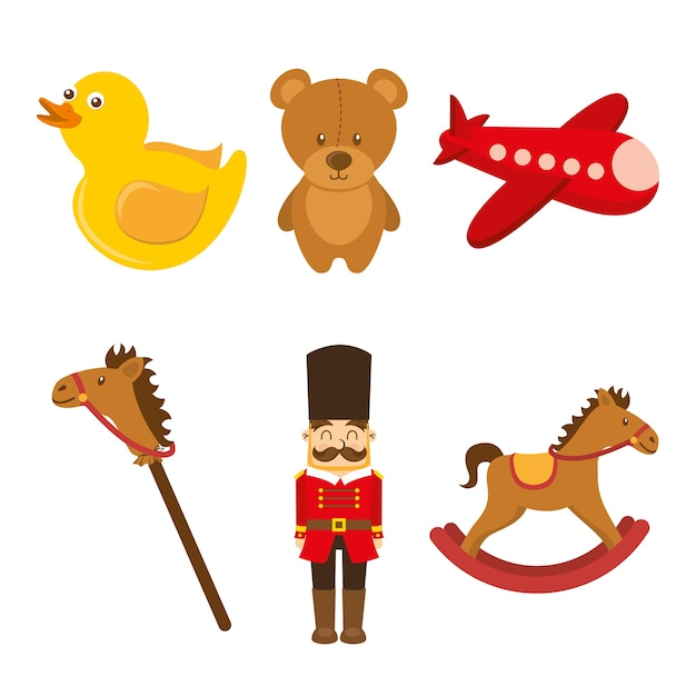 Rockinghorse dell'anatra dell'aeroplano dell'orsacchiotto dell'orsacchiotto del soldato della raccolta dei giocattoli dei bambini Vettore Premium