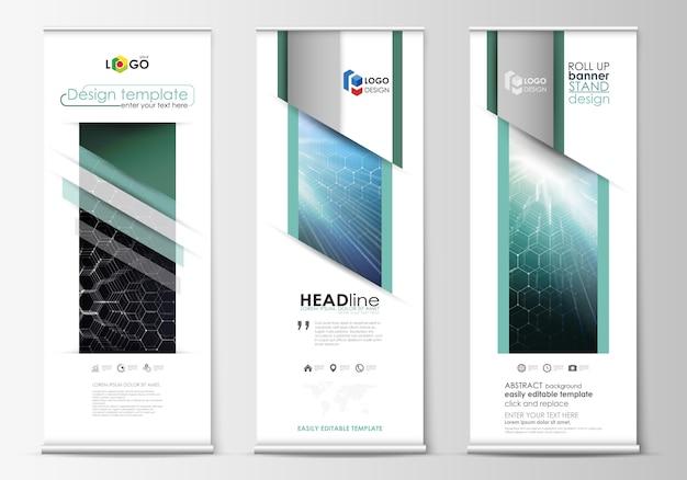 Roll up banner stand, modelli di stile geometrico astratto, volantini aziendale verticale vettoriale, layout di bandiera. Vettore Premium