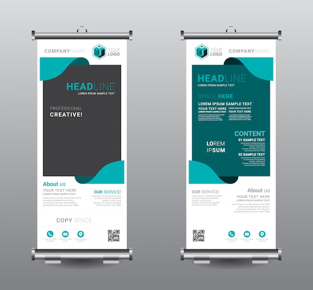 Roll up banner standee design modello di business. Vettore Premium