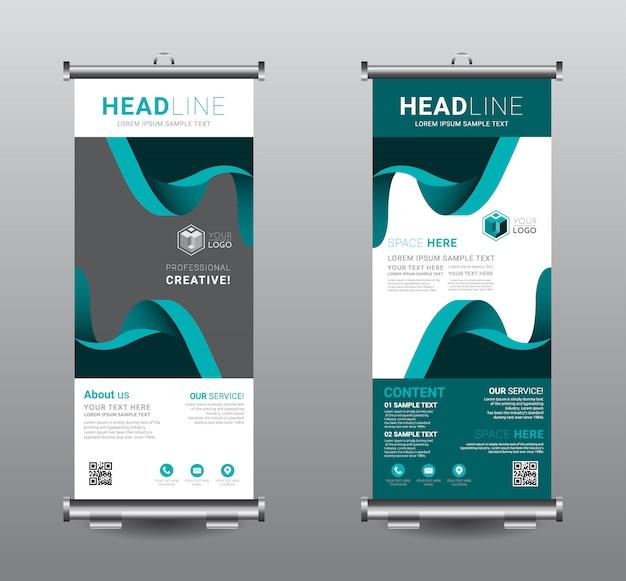 Roll up banner standee design modello di business. Vettore Premium