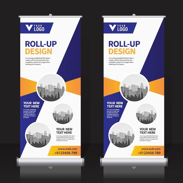 Roll up banner template design Vettore Premium