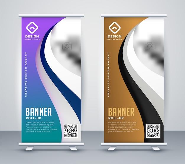 Roll up standee design banner in stile ondulato Vettore gratuito