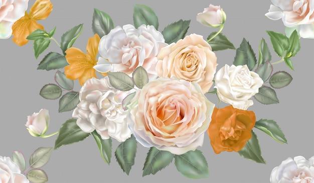 Rosa bianco e giallo senza cuciture Vettore Premium