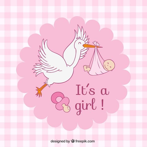 Rosa controllato doccia Baby card Vettore gratuito