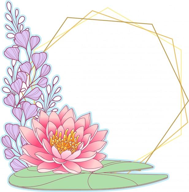 Rosa waterlily e cornice geometrica Vettore Premium