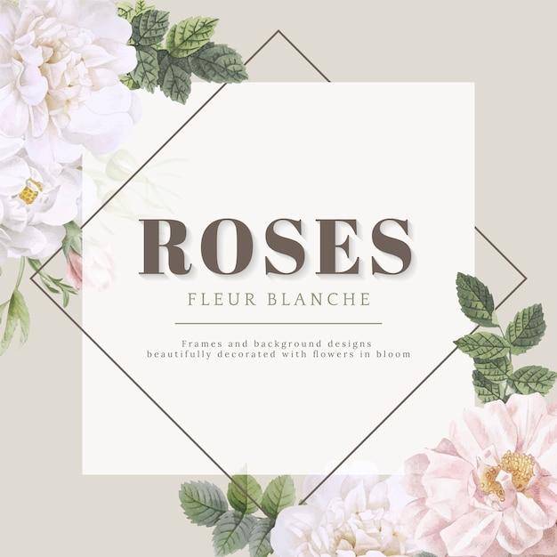 Rose fleur blanche card design Vettore gratuito