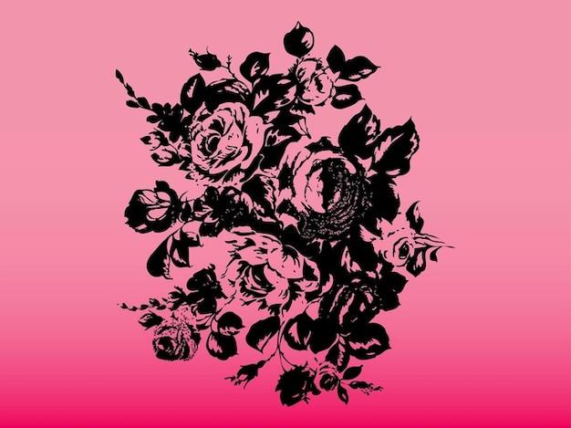 Rose Nere Su Sfondo Rosa Scaricare Vettori Gratis