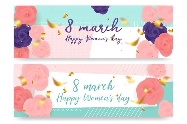 Rose papercut design per l'8 marzo. festa della donna felice Vettore Premium