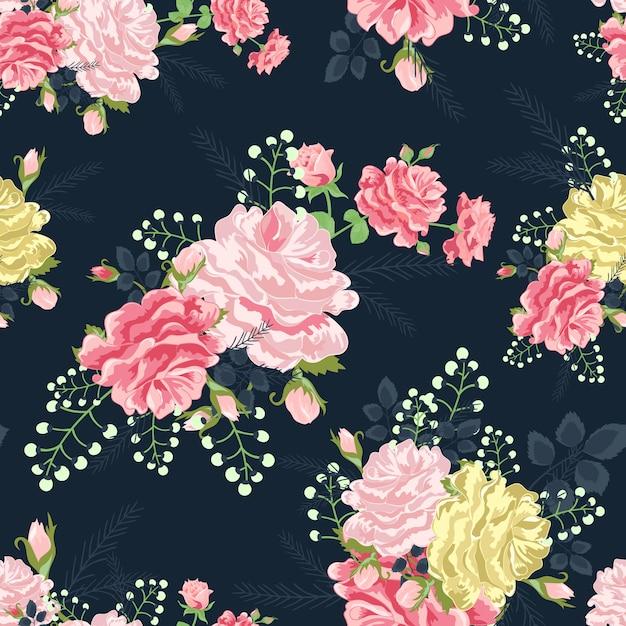 Rose su uno sfondo grigio scuro Vettore Premium
