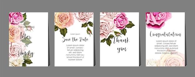 Rose sul set di carte Vettore Premium