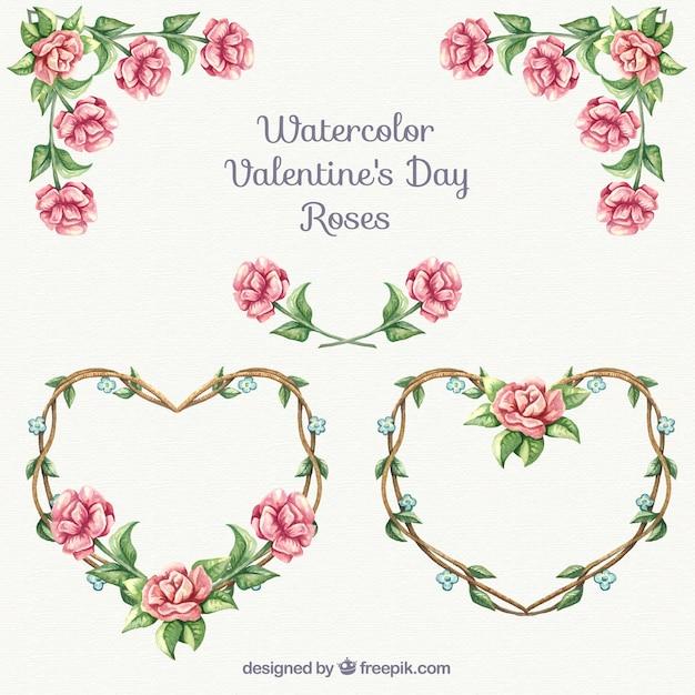 Roses ornamenti per san valentino Vettore gratuito