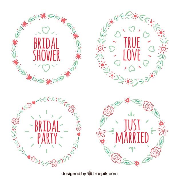 Rossi cornici floreali bridal shower blu e Vettore gratuito