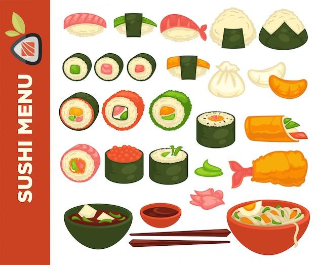 Rotoli di sushi e cucina giapponese. Vettore Premium