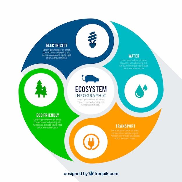 Rotondo concetto di ecosistema infografica Vettore gratuito