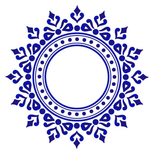 Rotondo ornamentale blu Vettore Premium