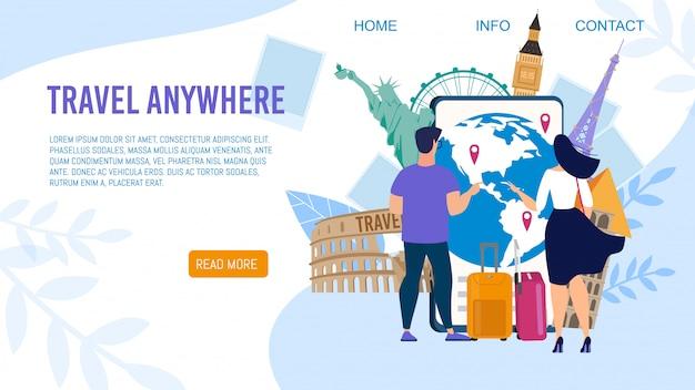 Rotte aeree per la pagina di destinazione vettore piatto turistico Vettore Premium