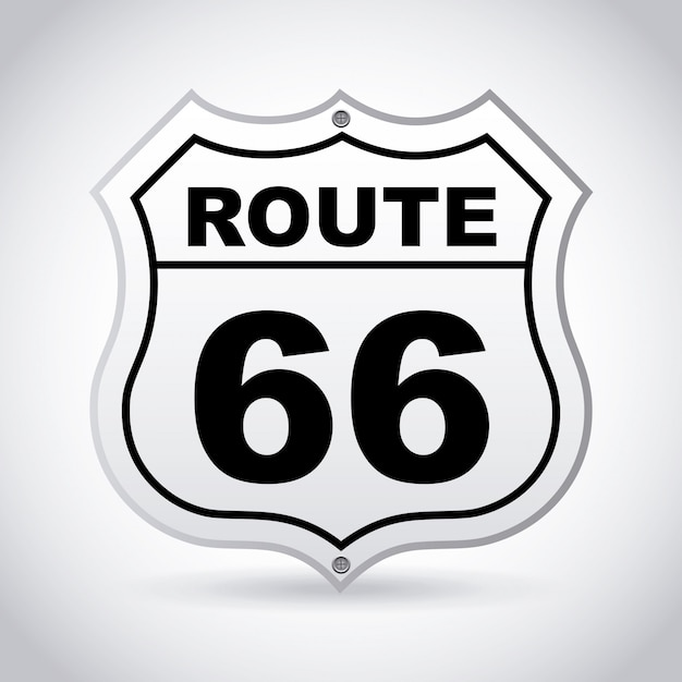 Route 66 label over gray background vector illustration Vettore Premium