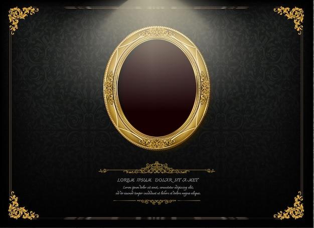 Royal gold frame su sfondo pattern di drake Vettore Premium