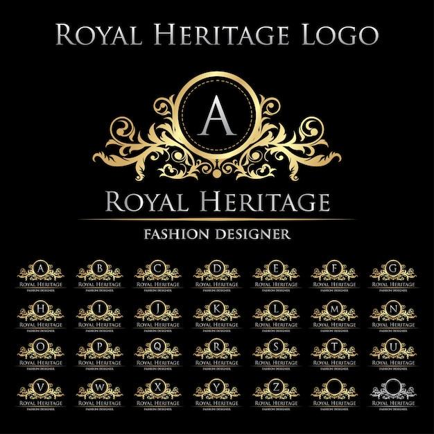 Royal heritage logo icon con set di alfabeto Vettore Premium