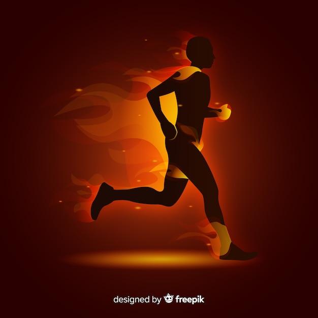 Runner in fiamme stile piano Vettore gratuito