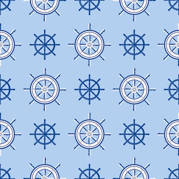 Ruota della barca marina del modello senza cuciture del timone della nave. navigazione del crogiolo di yacht di vettore con la siluetta dell'illustrazione del volante Vettore Premium