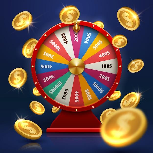 Ruota della fortuna e monete d'oro. possibilità fortunata nel vettore del gioco. illustrazione della fortuna della ruota per casinò, gioco d'azzardo e successo Vettore Premium