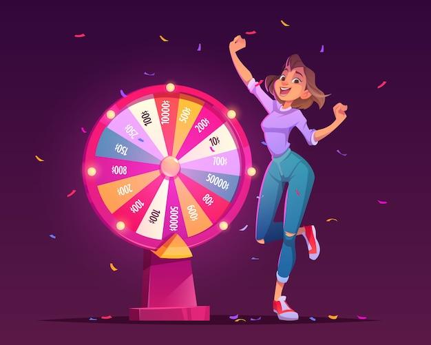 Ruota della fortuna e vincitore della ragazza fortunata nel casinò Vettore gratuito