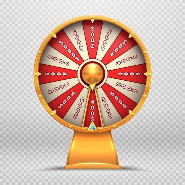 Ruota della fortuna. girando le roulette 3d spinge l'illustrazione isolata simbolo di gioco del gioco di lotteria fortunato Vettore Premium