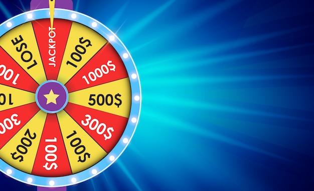 Ruota della fortuna, sfondo fortunato. illustrazione vettoriale Vettore Premium