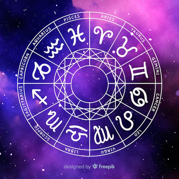 Ruota dello zodiaco sullo sfondo dello spazio Vettore gratuito