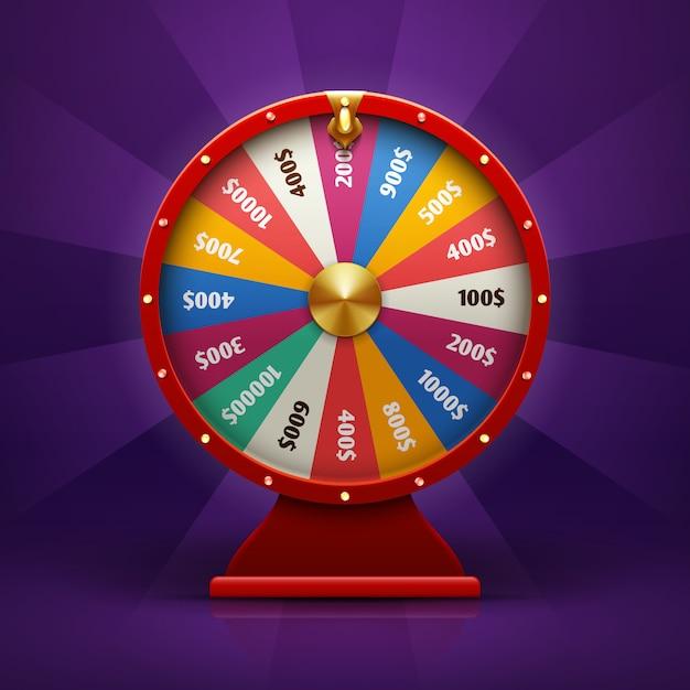 Ruota di fortuna di filatura realistica 3d, illustrazione fortunata delle roulette. Vettore Premium