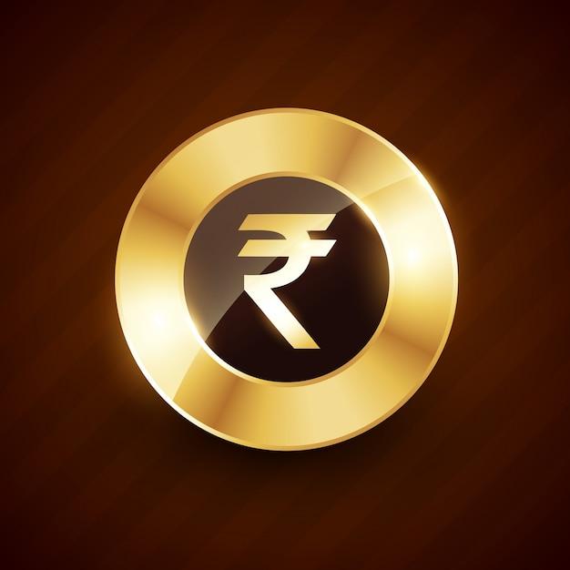 Ruppee moneta d'oro con effetti lucenti Vettore Premium