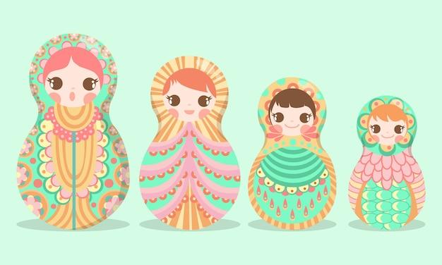 Russian art doll matryoshka russian Vettore Premium