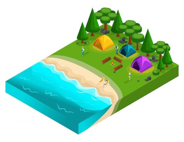 S del campeggio, attività ricreative dei giovani di generazione z sulla natura, foresta, mare, spiaggia, riva del lago, riva del fiume, campeggio. uno stile di vita sano Vettore Premium