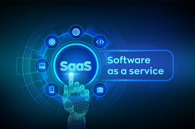 Saas. software come concetto di servizio sullo schermo virtuale. interfaccia digitale commovente della mano robot. Vettore Premium