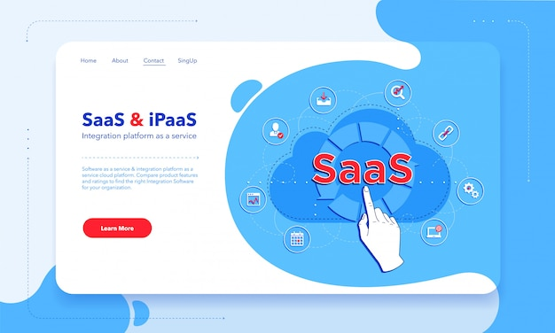 Saas - software come servizio - e ipaas - piattaforma di integrazione come modello di prima schermata di servizio. client che utilizza saas. Vettore Premium