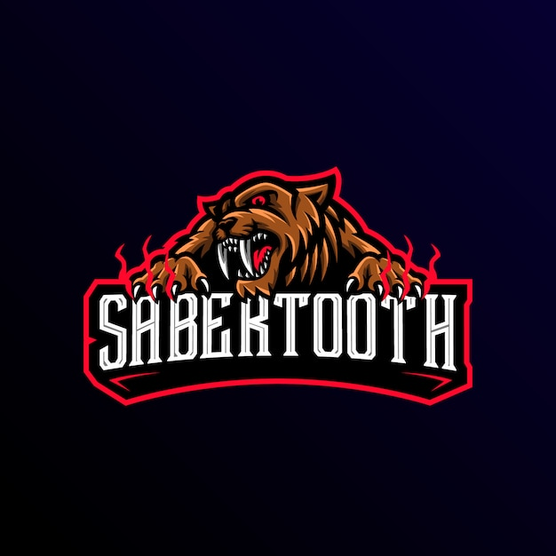 Sabertooth mascot logo esport gaming Vettore Premium