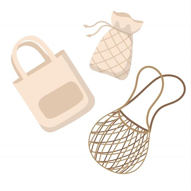 Sacchetti riutilizzabili in cotone - zero rifiuti concetto illustrazione vettoriale in stile cartone animato. Vettore Premium