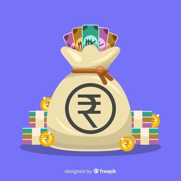 Sacchetto dei soldi della rupia indiana Vettore gratuito