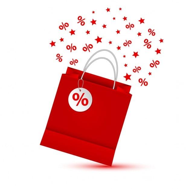 Sacchetto di acquisto rosso isolato su sfondo bianco Vettore gratuito