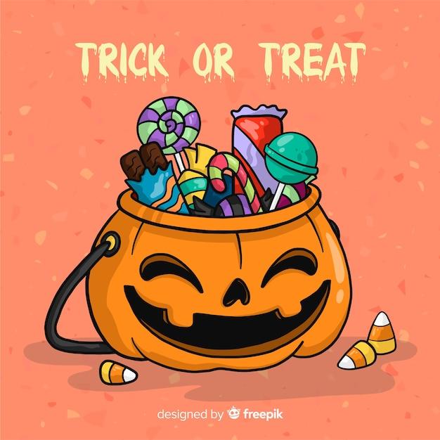 Sacchetto di caramelle di halloween disegnato a mano colorato Vettore gratuito