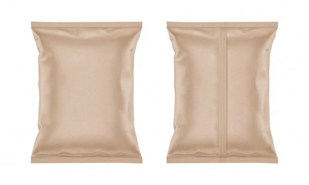 Sacchetto di carta artigianale vuoto per il design del packaging Vettore Premium