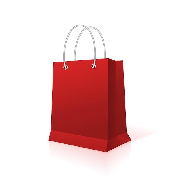 Sacchetto di carta commerciale vuoto vuoto, colore rosso Vettore Premium