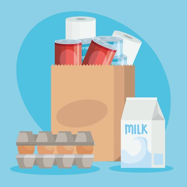 Sacchetto di carta con generi alimentari Vettore Premium