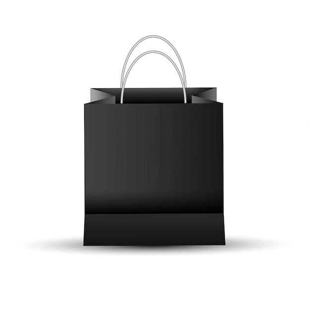 Sacchetto di carta dello shopping vuoto vuoto, colore nero Vettore Premium