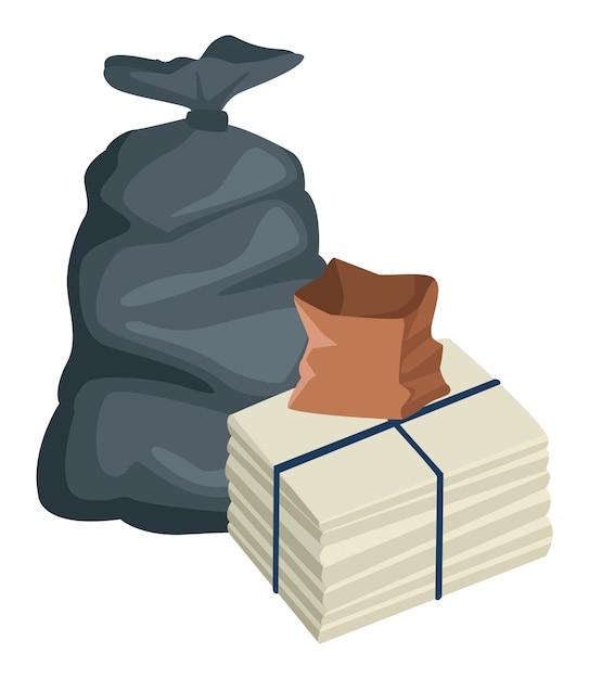 Sacchetto di immondizia e sacchetto di carta Vettore Premium