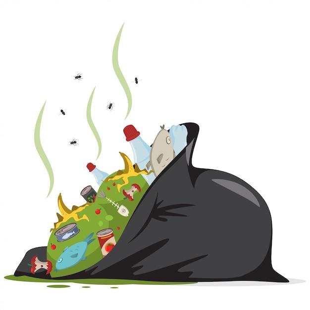 Sacchetto di immondizia nero con rifiuti alimentari Vettore Premium