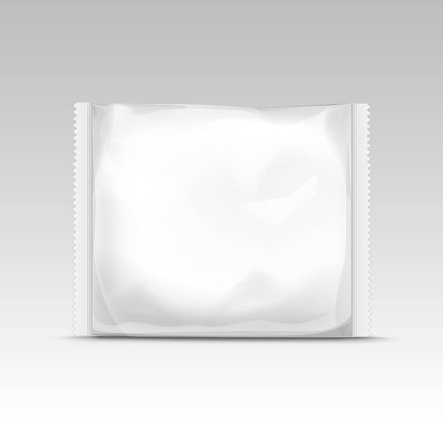 Sacchetto di plastica trasparente vuoto sigillato orizzontale bianco Vettore Premium