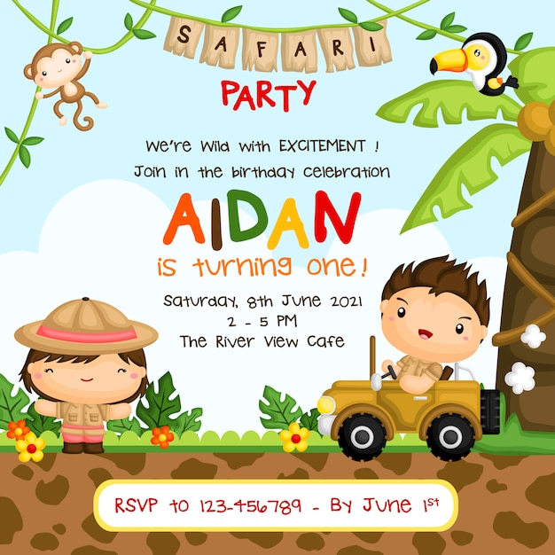 Safari kids birthday party invitation Vettore Premium