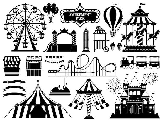 Sagoma del parco divertimenti. attrazione della giostra dei parchi di carnevale, montagne russe divertenti e icone delle attrazioni della ruota panoramica messe Vettore Premium